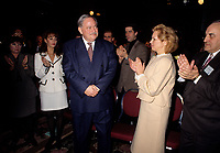 Montreal (Qc) CANADA,December 27, 1996 File Photo <br /> <br /> Parti Quebecois  Leader Jacques Parizeau<br /> and 2nd wife Lizette Lapointe (R) <br /> at the PQ-Conseil national in Montreal,<br /> ,December 27, 1996<br /> <br /> Photo by Pierre Roussel / Images Distribution