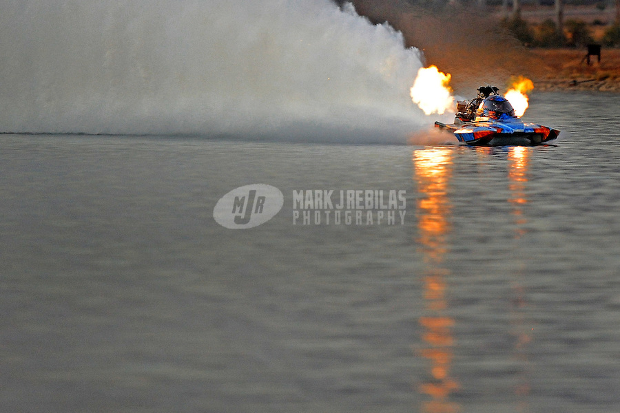 Nov. 22, 2008; Chandler, AZ, USA; IHBA top fuel hydro driver Scott Lumbert during qualifying for the Napa Auto Parts World Finals at Firebird Lake. Mandatory Credit: Mark J. Rebilas-