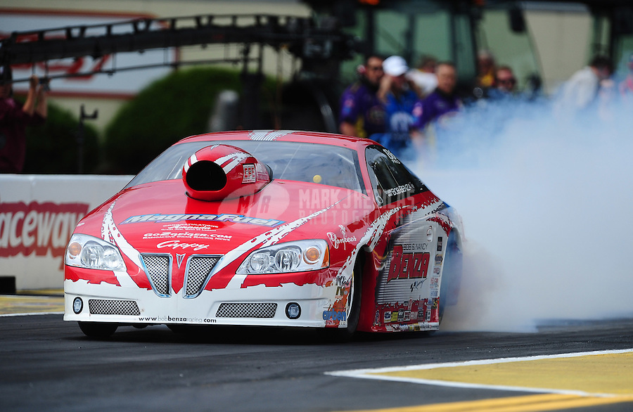 Sept. 30, 2011; Mohnton, PA, USA: NHRA pro stock driver Bob Benza during qualifying for the Auto Plus Nationals at Maple Grove Raceway. Mandatory Credit: Mark J. Rebilas-