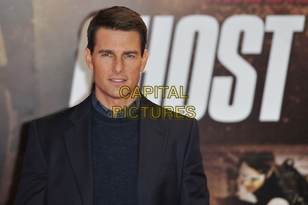 "Tom Cruise.The ""Mission : Impossible Ghost Protocol"" UK premiere, BFI Imax cinema, Waterloo, London, England..December 13th, 2011.Mi4 MI:4 headshot portrait black blue jacket jumper sweater .CAP/MAR.© Martin Harris/Capital Pictures."