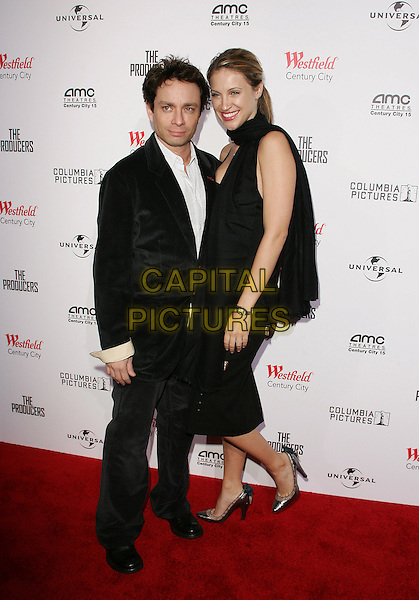 "CHRIS KATTAN & SUNSHINE TUTT.""The Producers"" World Premiere held at the Westfield Century City, Century City, California..December 12th, 2005.Photo: William Scott/AdMedia/Capital Pictures.Ref: WS/ADM.full length black suit scarf dress.www.capitalpictures.com.sales@capitalpictures.com.© Capital Pictures."