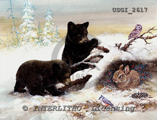 GIORDANO, CHRISTMAS ANIMALS, WEIHNACHTEN TIERE, NAVIDAD ANIMALES, paintings+++++,USGI2617,#XA#