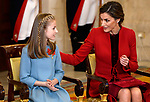 Princess Leonor of Spain (l) and Queen Letizia of Spain attend the Order of Golden Fleece (Toison de Oro), ceremony at the Royal Palace. January 30,2018. (ALTERPHOTOS/Pool)