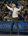Utah State head coach Craig Smith works the sidelines against Nevada in the second half of an NCAA college basketball game in Reno, Nev., Wednesday, Jan. 2, 2019. (AP Photo/Tom R. Smedes)