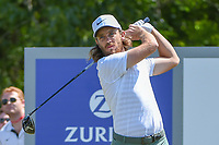Tommy Fleetwood (ENG) watches his tee shot on 18 during Round 2 of the Zurich Classic of New Orl, TPC Louisiana, Avondale, Louisiana, USA. 4/27/2018.<br /> Picture: Golffile | Ken Murray<br /> <br /> <br /> All photo usage must carry mandatory copyright credit (&copy; Golffile | Ken Murray)