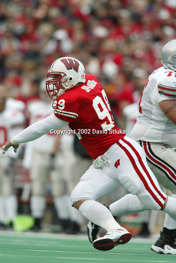 University of Wisconsin defensive lineman Jake Sprague (99) during the Ohio State football game at Camp Randall Stadium in Madison, Wisconsin, on 10/19/02. The Badgers lost to Ohio State 14-19. (Photo by David Stluka)
