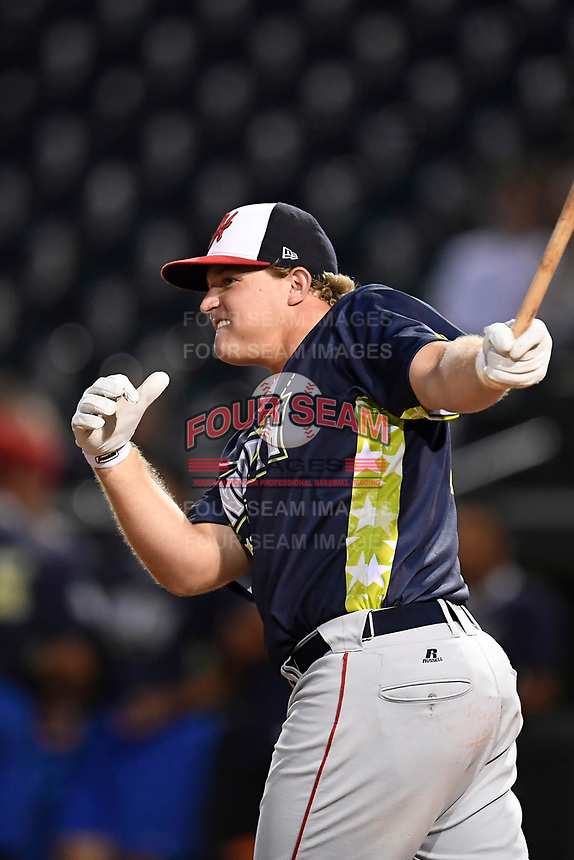 Sheldon Neuse of the Hagerstown Suns participates in the Home Run Derby as part of of the South Atlantic League All-Star Game festivities on Monday, June 19, 2017, at Spirit Communications Park in Columbia, South Carolina. (Tom Priddy/Four Seam Images)