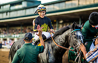 October 06 2018 : Albin Jimenez celebrates winning his first G1 aboard Knicks Go in the Coolmoore Breeders Futurity States at Keeneland Racecourse on October 05, 2018 in Lexington, Kentucky. Evers/ESW/CSM