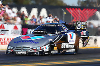 Jul. 25, 2014; Sonoma, CA, USA; NHRA funny car driver Jack Beckman during qualifying for the Sonoma Nationals at Sonoma Raceway. Mandatory Credit: Mark J. Rebilas-