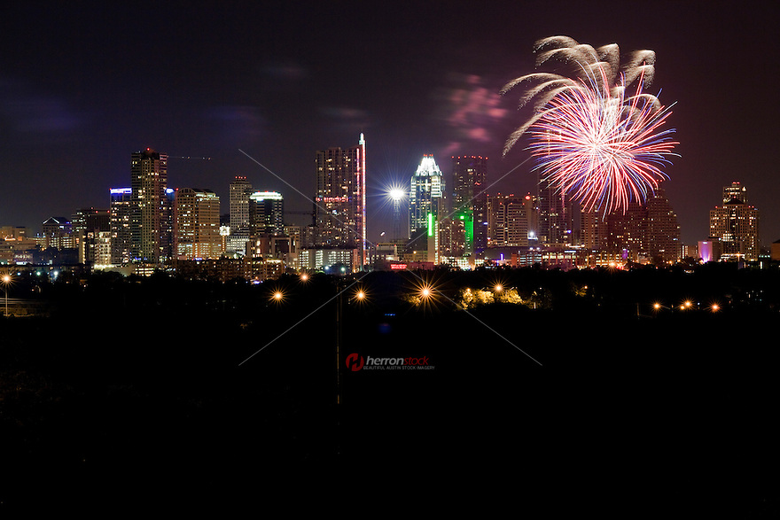 July 4th fireworks display from Zilker Park in Austin, Texas USA.