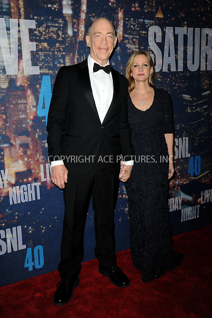 WWW.ACEPIXS.COM<br /> February 15, 2015 New York City<br /> <br /> J.K. Simmons and Michelle Schumacher walking the red carpet at the SNL 40th Anniversary Special at 30 Rockefeller Plaza on February 15, 2015 in New York City.<br /> <br /> Please byline: Kristin Callahan/AcePictures<br /> <br /> ACEPIXS.COM<br /> <br /> Tel: (646) 769 0430<br /> e-mail: info@acepixs.com<br /> web: http://www.acepixs.com