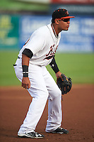 Frederick Keys third baseman Jomar Reyes (30) during a game against the Carolina Mudcats on June 4, 2016 at Nymeo Field at Harry Grove Stadium in Frederick, Maryland.  Frederick defeated Carolina 5-4 in eleven innings.  (Mike Janes/Four Seam Images)