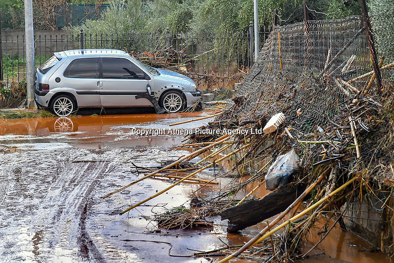 Pictured: Mud and debris on the streets in Messini, near the town of Kalamata, Messinia, Greece. Wednesday 07 September 2016<br /> Re: Severe flash flooding has affected parts of Messinia County in southern Greece.