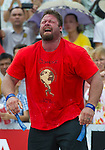HAINAN ISLAND, CHINA - AUGUST 24:  Mike Burke of USA competes at the Deadlift for Max event during the World's Strongest Man competition at Yalong Bay Cultural Square on August 24, 2013 in Hainan Island, China.  Photo by Victor Fraile
