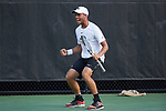 Bar Botzer of the Wake Forest Demon Deacons celebrates after winning a point during his match against the Ohio State Buckeyes at #4 singles during the 2018 NCAA Men's Tennis Championship at the Wake Forest Tennis Center on May 22, 2018 in Winston-Salem, North Carolina.  The Demon Deacons defeated the Buckeyes 4-2. (Brian Westerholt/Sports On Film)