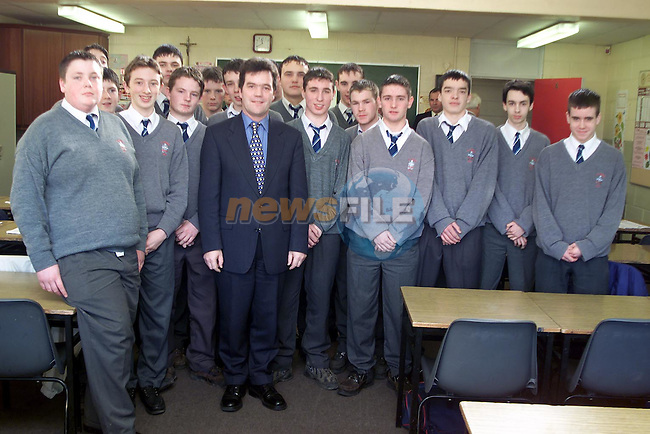 Minister Noel Dempsey, T.D. with students from St. Joseph's C.B.S. transistion year..Picture Paul Mohan Newsfile