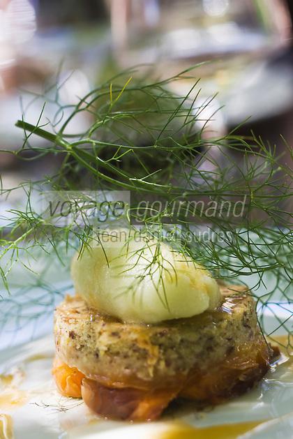 Europe/France/Rhône-Alpes/26/Drôme/Saint-Paul-Trois-Châteaux: Tartelette aux abricots avec sa pâte à la crème de lin et sorbet au fenouil, recette de  Cédric Denaux  du Restaurant L et Lui