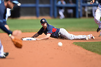 Boston Red Sox second baseman Mike McCoy (48) slides into second on a hit and run during a spring training game against the Tampa Bay Rays on March 25, 2014 at Charlotte Sports Park in Port Charlotte, Florida.  Boston defeated Tampa Bay 4-2.  (Mike Janes/Four Seam Images)