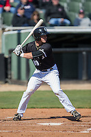 Casey Schroeder (10) of the Kannapolis Intimidators at bat against the Delmarva Shorebirds at Kannapolis Intimidators Stadium on April 13, 2016 in Kannapolis, North Carolina.  The Intimidators defeated the Shorebirds 8-7.  (Brian Westerholt/Four Seam Images)