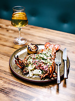 Whole grilled lobster at Arcana Restaurant in Boulder, Colorado, August 24, 2018. <br /> <br /> Photo by Matt Nager