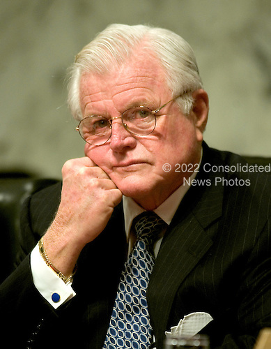 "Washington, D.C. - January 11, 2006 -- United States Senator Edward M. ""Ted"" Kennedy (Democrat of Massachusetts) listens as Judge Samuel A. Alito testifies before the United States Senate Judiciary Committee on his nomination to be Associate Justice of the United States Supreme Court in Washington, D.C. on January 11, 2006..Credit: Ron Sachs / CNP"