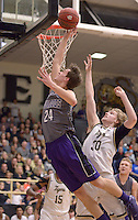 NWA Democrat-Gazette/BEN GOFF @NWABENGOFF<br /> August Carlson (24) of Fayetteville puts a shot up over Asa Hutchinson (30) of Bentonville on Friday Feb. 26, 2016 during the game in Bentonville's Tiger Arena.