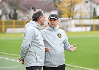 20191107 - Zapresic , BELGIUM : Belgian assistant coach Kris Van Der Haegen and head coach Ives Serneels pictured during a Matchday -1 training session before a  female soccer game between the womensoccer teams of  Croatia and the Belgian Red Flames , the third women football game for Belgium in the qualification for the European Championship round in group H for England 2021, Thursday 7 th october 2019 at the NK Inter Zapresic stadium near Zagreb , Croatia .  PHOTO SPORTPIX.BE | DAVID CATRY