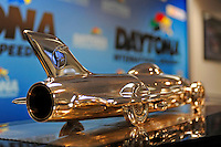 The Harley J. Earl Daytona 500 Trophy (looks like the Delta Wing Indy Car)