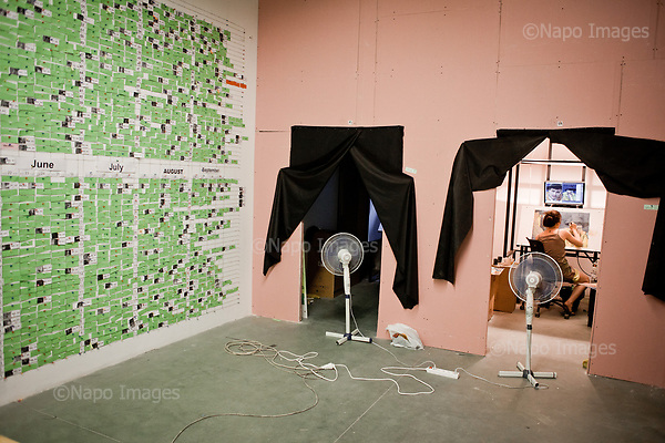 GDANSK, 30/05/2016:<br /> Painters in their boxes at the production venue of &quot;Loving Vincent,&quot; an animated film being made in Poland about Vincent Van Gogh that's using oil-painted cels. Each finished cel is photographed on the spot and transferred to computer's memory. On the left is a detailed schedule of all, over 40 painters.<br /> (Photo by Piotr Malecki / Napo Images)<br /> <br />  <br /> ####<br /> GDANSK, 30/05/2016:<br /> Produkcja filmu &quot;Twoj Vincent&quot; - pierwszego w historii filmu animowanego skladajacego sie w calosci z klatek osobno malowanych na plotnie przez dziesiatki zatrudnionych w tym celu malarzy z calego swiata.<br /> (Fot: Piotr Malecki dla NYT / Napo Images /  Napo Images) <br /> <br /> <br /> ### Zakaz publikacji w negatywnym kontekscie. Cena minimalna: 100 PLN ### Zakaz publikacji w Gazecie Polskiej ###
