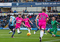Scott Kashket of Wycombe Wanderers shoots at goal  during the Sky Bet League 2 match between Wycombe Wanderers and Hartlepool United at Adams Park, High Wycombe, England on 26 November 2016. Photo by Andy Rowland.