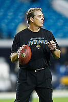 October 24, 2011:   Jacksonville Jaguars head coach Jack Del Rio plays catch on the field prior to the start of action between the Jacksonville Jaguars and the Baltimore Ravens played at EverBank Field in Jacksonville, Florida.  ........