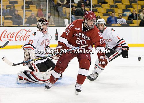 Louis Leblanc (Harvard - 20) - The Northeastern University Huskies defeated the Harvard University Crimson 4-1 (EN) on Monday, February 8, 2010, at the TD Garden in Boston, Massachusetts, in the 2010 Beanpot consolation game.