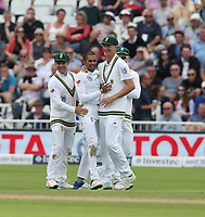 South Africa's Keshav Maharaj celebrates taking the wicket of England's Jonny Bairstow<br /> <br /> Photographer Stephen White/CameraSport<br /> <br /> Investec Test Series 2017 - Second Test - England v South Africa - Day 2 - Saturday 15th July 2017 - Trent Bridge - Nottingham<br /> <br /> World Copyright &copy; 2017 CameraSport. All rights reserved. 43 Linden Ave. Countesthorpe. Leicester. England. LE8 5PG - Tel: +44 (0) 116 277 4147 - admin@camerasport.com - www.camerasport.com