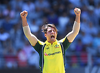 Australian bowler Marcus Stoinis celebrates the wicket of Munro. International One Day Cricket. New Zealand Black Caps v Australia. Chappell–Hadlee Trophy, Game 1. Eden Park Monday 30 January 2017 © Copyright photo: Andrew Cornaga / www.photosport.nz