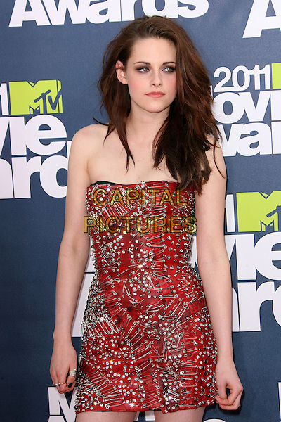 Kristen Stewart.2011 MTV Movie Awards - Arrivals held at Gibson Amphitheatre, Universal City, California, USA..June 5th, 2011.half length dress red strapless silver studded beaded beauty big hair make-up volume beauty .CAP/ADM.©AdMedia/Capital Pictures.