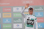 Race leader Christopher Froome (GBR) Team Sky also retains the Combined Jersey on the podium at the end of Stage 17 of the 2017 La Vuelta, running 180.5km from Villadiego to Los Machucos. Monumento Vaca Pasiega, Spain. 6th September 2017.<br /> Picture: Unipublic/&copy;photogomezsport | Cyclefile<br /> <br /> <br /> All photos usage must carry mandatory copyright credit (&copy; Cyclefile | Unipublic/&copy;photogomezsport)
