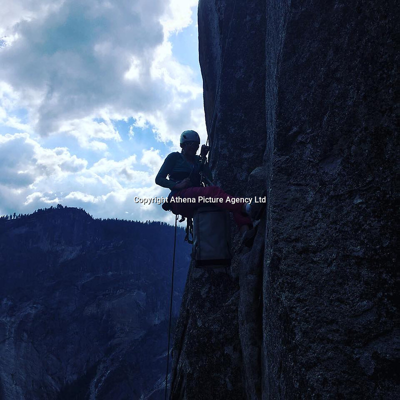 "Pictured: Lucy Foster climbs the rock in Yosemite.<br /> Re: A British climber was killed and his wife seriously injured living their ""big dream"" on one of the toughest rock faces in the world.<br /> Andrew Foster, 32, and his wife Lucy, 28, were buried under tons of falling rock as they prepared for their climb.<br /> Experienced climber Andrew was killed but Lucy was rescued and airlifted to hospital where she was in a ""critical"" condition.<br /> The couple were married a year ago and the three-week trip to the Yosemite National Park in California was part of their first wedding anniversary celebrations.<br /> They had ben training for the expedition for six months and flew off to the States on September 11 along with other members of their climbing club.<br /> Andrew and Lucy, from Cardiff, were scouting out a descent of the iconic rockface El Capitan when a ""sheet"" of granite fell on them.<br /> Rangers on the national park beauty spot said a piece of granite 40 metres by 20 metres fell from a height of 200 metres while the couple were below.<br /> Patagonia, a company owned by Andrew Foster has confirmed the incident."