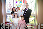 Milestone day for the Conway family in Portmagee pictured here on Saturday last when Cate made her First Holy Communion and her little brother Rory Niall was christened in St Patrick's Church in Portmagee, pictured here front l-r; Cate & Liam, back l-r; Eimear, Laura, Rory & Mark Conway.