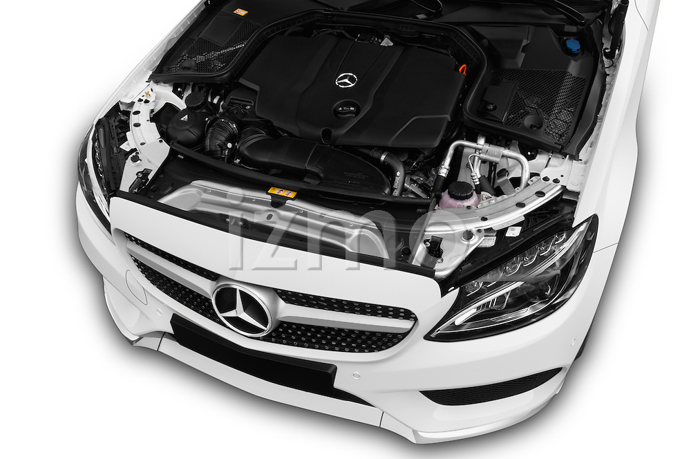 Car Stock 2016 Mercedes Benz C-Class Sportline 2 Door Coupe Engine  high angle detail view