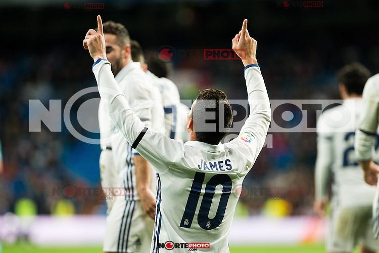 "Real Madrid's James Rodriguez during the match of ""Copa del Rey"" between Real Madrid and Cultural Leonesa at Santiago Bernabeu Stadium in Madrid, Spain. November 29, 2016. (ALTERPHOTOS/Rodrigo Jimenez) /NORTEPHOTO.COM"