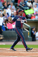Former Atlanta Braves first baseman Fred McGriff #27 at bat during the MLB Pepsi Max Field of Dreams game on May 18, 2013 at Frontier Field in Rochester, New York.  (Mike Janes/Four Seam Images)