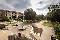 The Johnson Student Center (JSC) fountain and Academic Quad on Feb. 27, 2019.<br />