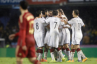 Germany's players celebrate goal in presence of Spain's Pedro Rodriguez during international friendly match.November 18,2014. (ALTERPHOTOS/Acero) /NortePhoto<br />