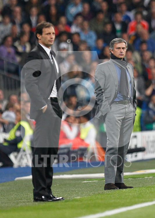 Real Madrid's  Jose Mourinhond Milan's Allegri during champions league match ..Photo: Cesar Cebolla  / ALFAQUI