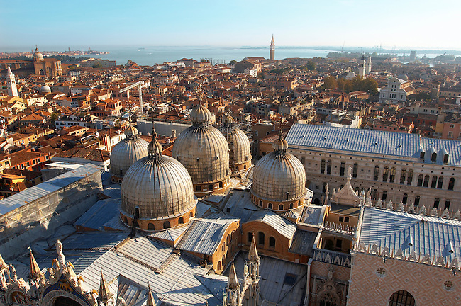 Arial view of saint Mark's square and basilica with Doge's Palace - Venice - Italy