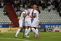 MANIZALES -COLOMBIA, 25-09-2014. Jugadores de Once Caldas celebran un gol anotado al Boyacá Chicó FC durante partido por la fecha 11 de la Liga Postobón II 2014 jugado en el estadio Palogrande de la ciudad de Manizales./  Players of Once Caldas celebrate a goal scored to Boyaca Chico FC during match for the 11th date of the Postobon  League II 2014 at Palogrande stadium in Manizales city. Photo: VizzorImage/Santiago Osorio/STR