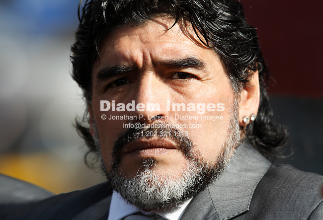 JOHANNESBURG - JUNE 17:  Argentina Coach Diego Maradona on the team bench prior to the start of a 2010 FIFA World Cup soccer match against South Korea June 17, 2010 in Johannesburg, South Africa.  NO mobile use.  Editorial ONLY.  (Photograph by Jonathan P. Larsen)