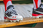 22 September 2013: Washington Nationals outfielder Bryce Harper's Under Armour cleats are seen in the dugout prior to a game against the Miami Marlins at Nationals Park in Washington, DC. The Marlins defeated the Nationals 4-2 in the first game of their day/night double-header. Mandatory Credit: Ed Wolfstein Photo *** RAW (NEF) Image File Available ***
