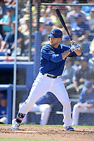 Toronto Blue Jays infielder Dan Johnson (16) during a spring training game against the Pittsburgh Pirates on February 28, 2014 at Florida Auto Exchange Stadium in Dunedin, Florida.  Toronto defeated Pittsburgh 4-2.  (Mike Janes/Four Seam Images)