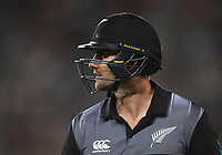 Tom Bruce after being run out by a direct hit from Haris Sohail.<br /> Pakistan tour of New Zealand. T20 Series.2nd Twenty20 international cricket match, Eden Park, Auckland, New Zealand. Thursday 25 January 2018. &copy; Copyright Photo: Andrew Cornaga / www.Photosport.nz